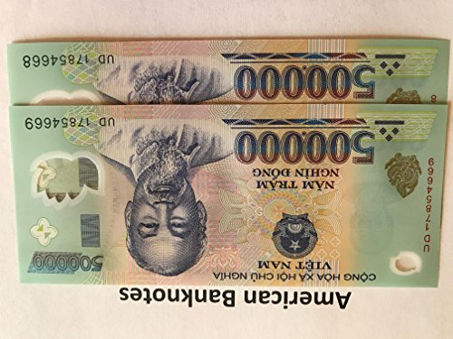 1 (One) Million Vietnam Dong - 2 x 500000 Vietnamese Dong Currency Collector VND Banknotes.