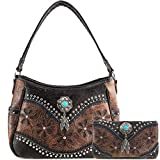 Justin West Cowgirl Leather Cut Concealed Carry Feather Concho Country Vintage Western Handbag Purse Wallet Set (Chestnut Brown)
