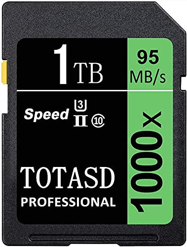 Tarjeta de memoria SDXC grande de 1024 GB y 1 TB, SDXC UHS-II SD, memoria de datos, U3 velocidad de hasta 95 MB/s para cámara réflex digital, cámara HD o cámara 3D (1 TB)