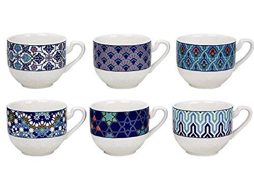 Ard' Time ec-6aztas 6Tazze in Porcellana Design Azulejos/Stile Etnico, Orientale, Blu, méditéranée, Mondo, Asiatico, Giapponese, Ceramica, Blu e Bianco, 10x 13x 9cm