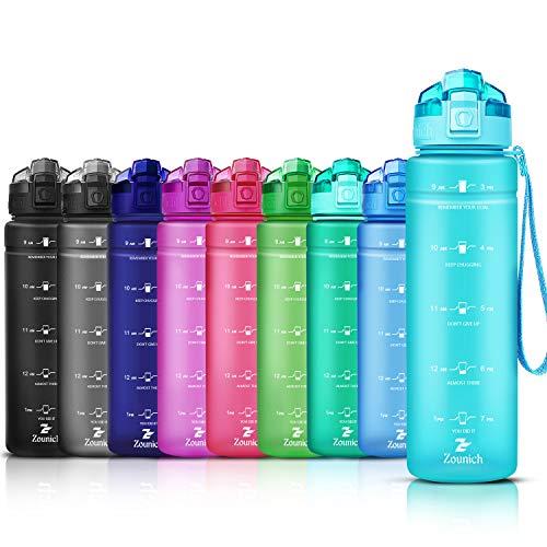 ZOUNICH Vattenflaska barn, läckagesäker, 1,2 l / 1 l / 700 ml / 500 ml, BPA fri, dricksflaskor, sport, tritanplast, vattenflaska för cykel, skola, lämplig för kolsyra, diskmaskin, sportflaska Ljusblå 500ml/17oz