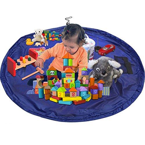 LUXJET® Kinder Aufräumsack,Segeltuch Kinder Spielmatte, 150cm Groß Spieldecke Spielzeug Speicher Tasche - Blau
