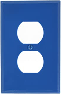 Leviton PJ8-BU 1-Gang Duplex Receptacle Wallplate, Midway Size, Blue