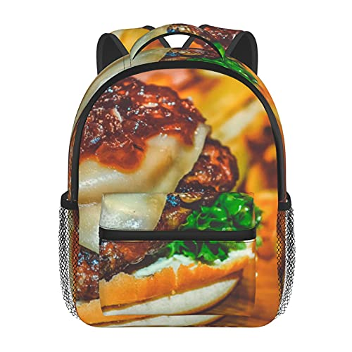 RTUBNSD Kinderrucksack Rinderbrot Brötchen Burger Käse 31, Kindergarten Vorschul Tasche Schultasche für Kleinkinder Mädchen Jungen