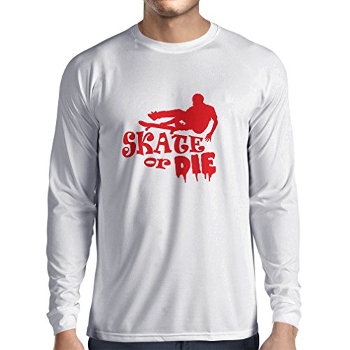 Camiseta de Manga Larga para Hombre Skate or Die - for Professional Skateboarder, Quotes by Pro Skaters, Skating Gear (Large Blanco Rojo)