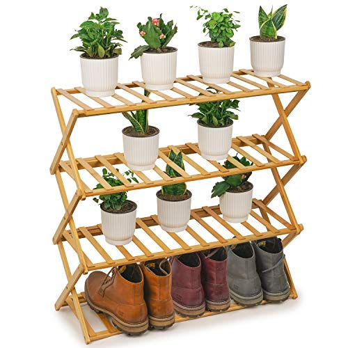 Simple Houseware 3-Tier Stackable Shoes Rack Storage Organizer Shelf, Bronze