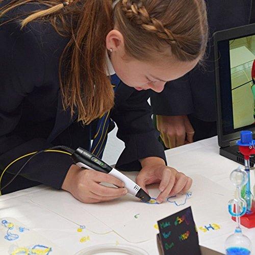 Ledyoung 3D Stift, 3D Druck Stift mit LCD Bildschirm für Kinder, Packung mit 1 Stift und 1.75mm PLA Filament von 16 Verschiedenen Farben (Für EU, Schwarz + Weiss) (for EU, White) - 6