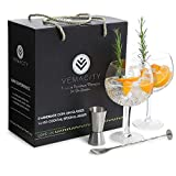 Vemacity®, bicchieri da gin per amanti del gin. Set di 2 bicchieri fatti a mano per gin tonic (700 ml), cucchiaio per cocktail e doppio misurino in confezione regalo, bicchieri autentici e di gusto