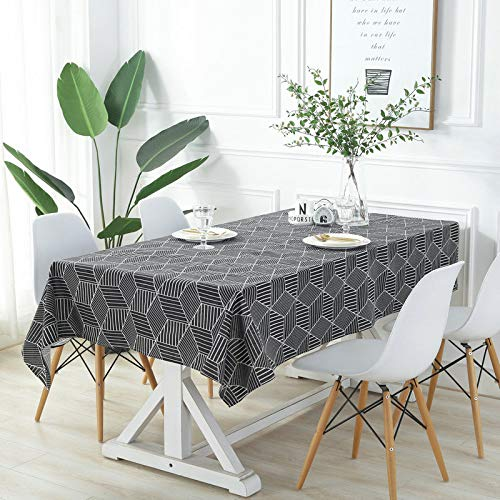 SUNHAO Zwart en wit gestreepte diamant blok tafelkleed huis woonkamer tafel salontafel tafelkleed Canvas tafelkleed