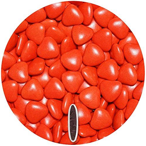 EinsSein 0,5kg Bruidsuiker Chocolade hartjes Dragées medium rood glans mini chocolade hartjes dragee hart paars…