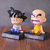 kyman 2 pz 12 cm Dragon Ball Z Krillin Son Gokou Supporto del Telefono Bobble Testa Doll Goku Kuririn Dragon Ball Figure Action Collection Model Giocattoli