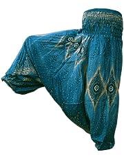 PANASIAM Aladin Harem Pants, i en vacker peacockstil, passar S-XL, i många färgvariationer