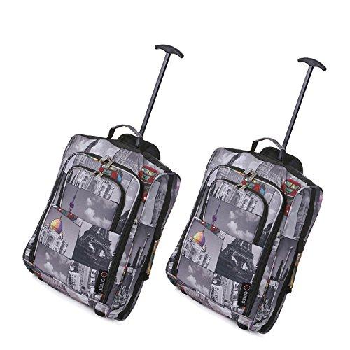 Set von 2 Leichtgewicht Handgepäck Kabinengepäck Flugtasche Koffer Trolley Gepäck (2 x NACHTSTÄDTE)