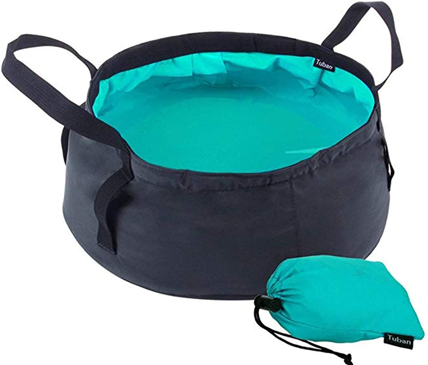 Bycws Collapsible Wash Basin, Folding Bucket Portable Tub Washtub Oxford Water Sink Container Ultralight Compact Waterproof Dishes Camping Picnic Fishing Hiking Outdoor Travel 8.5L,Green