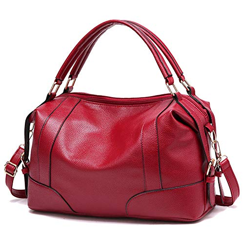 fdhdfh Pu Leather Handbags For Women Ladies Purses And Shoulder Crossbody Bags 33 * 15 * 19 Cm Burgundy