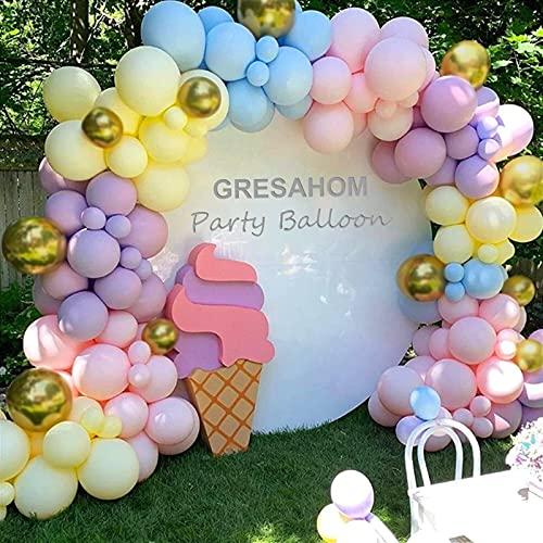 Kit de guirnalda de globos, 122 unidades, macarón, rosa, azul, morado, amarillo látex y globos metálicos de oro, decoración de cumpleaños, suministros para bodas, baby shower, compromiso de novia