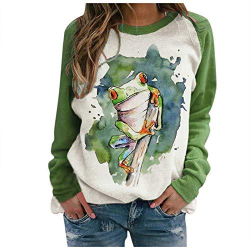 Hemden FüR Frauen Casual Loose Fit Tunika Tops Damen Loose Crewneck Mode Animal Print Langarm Pullover Sweatshirt(#16,XL)