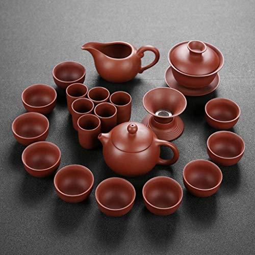 WYZQ Juego de té de Kung Fu, Juego de Tazas de Tetera de Arcilla púrpura Hecha a Mano, Regalo de Ceremonia de té Chino de cerámica Zisha, vajilla