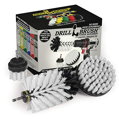Drill Brush Power Scrubber by Useful Products – Drillbrush White 3 Piece Automotive Cleaning kit - upholstery cleaner scrub brush - Car Cleaning Kit - Furniture Cleaner Brush Drill Attachment Set