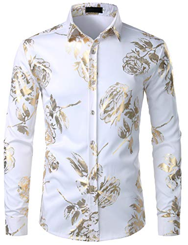 ZEROYAA Men's Geek Rose Gold Shiny Flowered Printed Stylish Slim Fit Long Sleeve Button Down Shirt ZZCL29 White Large