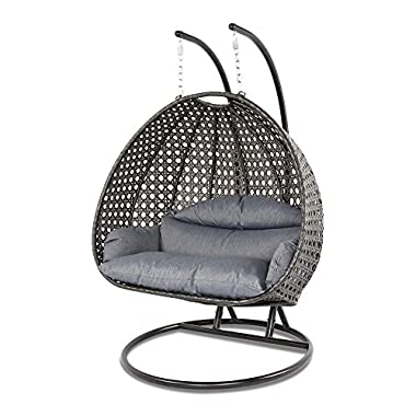 Dubai Collection Wicker Swing Chair with Stand PRO((2 Person)X-Large-PRO, Charcoal)