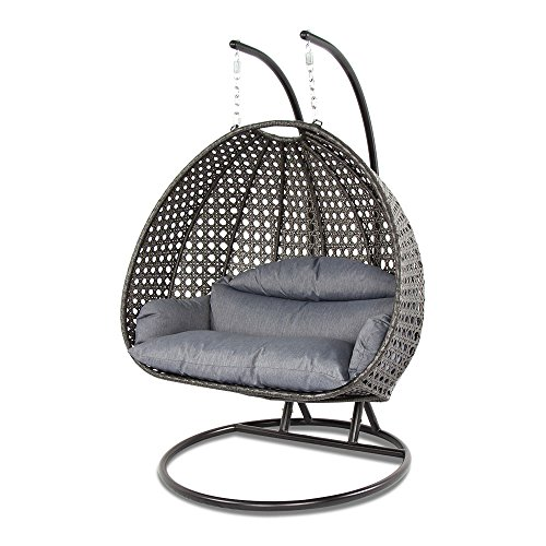 Island Gale Luxury 2 Person Wicker Swing Chair ((2 Person) X-Large, Charcoal Rattan/Charcoal...