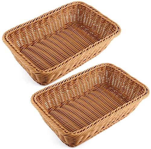 Bread Basket Wicker, rieten mand Rechthoekige for Fruit Groenten Brood Pique nieken - 30x 20x 7 cm (2 stuks)