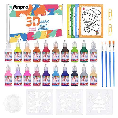 Anpro Tie Dye Kit, 3D Pittura per Tessuti, 20 Colori 34 Pezzi DIY Pitture Tessili, Perfetta per Dipingere con Rilievo Stoffa, Abbigliamento, T-Shirt, Tela, Legno, per Principianti, Professionist