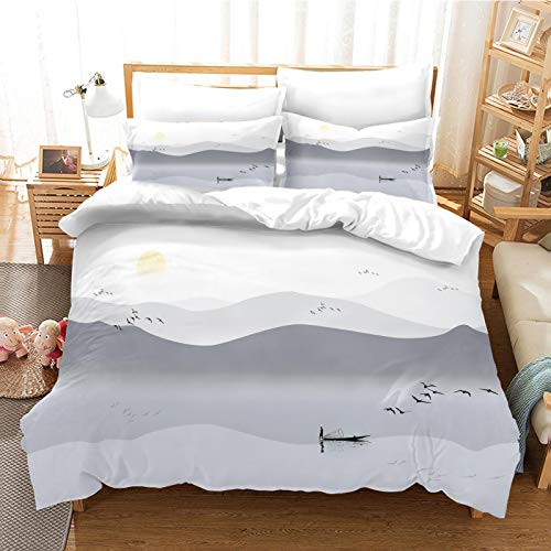 CLQPYQ King Size Bedding Duvet Covers Set For Teenage - 100% Brushed Microfiber Ink Landscape Painting Duvets Cover Sets 230X220cm With 2 Pillowcases, Super Soft Fluffy Home Bedding Set Quilt Cover