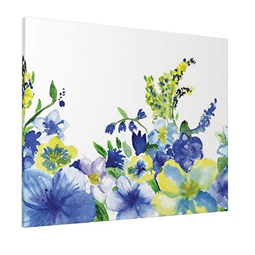 "Watercolor Flower House Decor Swirled Brushstroke Herbs Romantic Feminine Bloom Home Decor Blue Yellowpainting 16"" X 20"" Panoramic Canvas Wall Art"