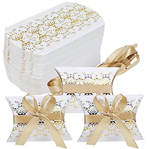 50 PCS Caja de regalo pequeña caja de regalo con 50 cintas, favores de boda DIY de 6x9cm, caja de dulces de papel, caja de dulces caja vacía fiesta de cumpleaños para niños Navidad