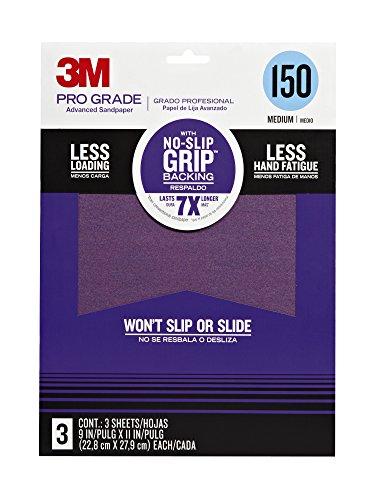3M 25150P-G Pro Grade No-Slip Grip Advanced Sandpaper, 9 X 11-Inches, 150 Grit. 3/Pack