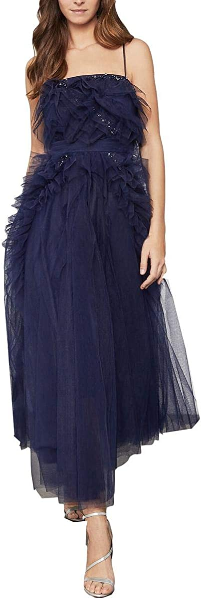 BCBGMAXAZRIA Womens Tulle Rhinestone Formal Dress