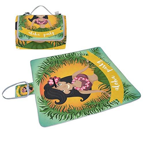 coosun Hawaii Aloha Hula Tänzerin, Picknick Decke Tote Handlich Matte Mehltau resistent und wasserfest Camping Matte für Picknicks, Strände, Wandern, Reisen, Rving und Ausflüge