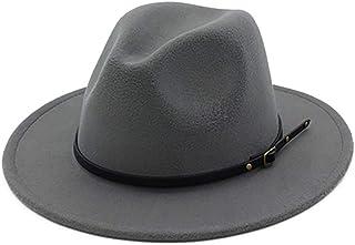 EachEver Women s Woolen Wide Brim Fedora Hat Classic Jazz Cap with Belt  Buckle 1a5036c9ac93