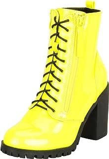 Cambridge Select Women's Lace-Up Lug Sole Chunky Platform Block Heel Ankle Bootie