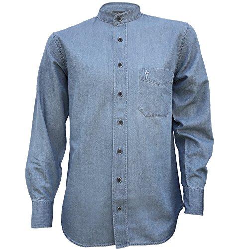The Celtic Ranch Irish Grandfather Collarless Cotton/Tencel Denim Shirt in Light Blue Indigo Wash-2XL