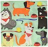 Creative Converting Dog Party Tovaglioli per Bevande con Simpatici Cani, 16 Pezzi, Carta, Blu