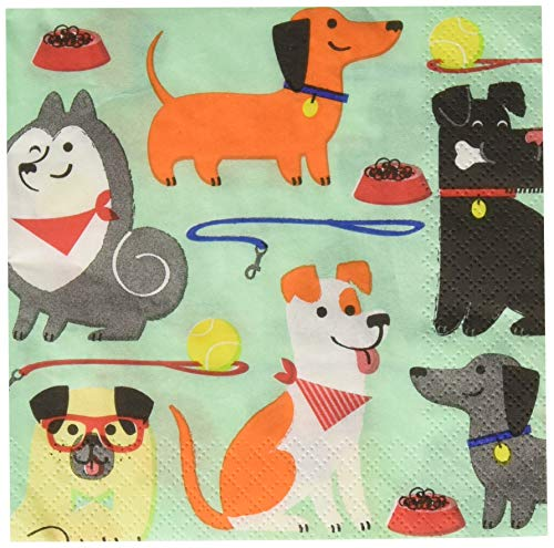 Creative Converting Party Supplies, Dog Party Beverage Napkins, Napkin Beverage, Multicolor, 9 4/5 inches X 9 3/4 inches, 16ct