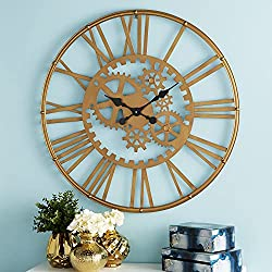 """CosmoLiving by Cosmopolitan 52568 Industrial Style Gold Metal Round Gear Wall Clock with Roman Numerals 