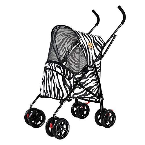 ADHW - Passeggino da viaggio per cani e gatti, taglia media, con 4 ruote, carico massimo 20 kg, colore: viola, bianco
