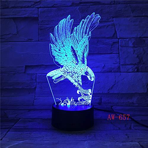 Jiushixw 3D acryl nachtlampje met afstandsbediening van kleur veranderende tafellamp Eagle Lanpu Eagle bed hoofd bureau slaapkamer blauw groen tafel oud