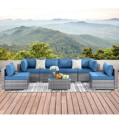 Walsunny 7pcs Patio Outdoor Furniture Sets,Low Back All-Weather Rattan Sectional Sofa with Tea Table&Washable Couch Cushions (Silver Gray Rattan) (Sliver/Aegean Blue)…