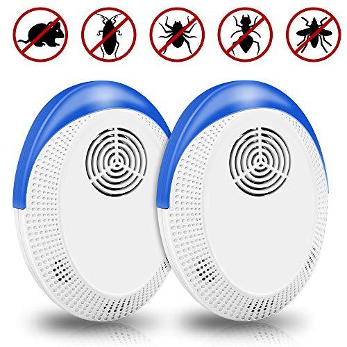 Vivibel Repellente ad Ultrasuoni, Repellente Contro Parassiti, Anti Topi Ratti Zanzare Insetti Ragni Parassiti Scarafaggi Formiche Antizanzare, Sicuro e Non Tossico (2 Pack)