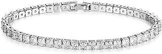 ZUYGG Princess Cut Tiny Cubic Zirconia CZ Tennis Bracelet for Women