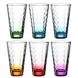 Leonardo Optic Trink-Gläser 6 er Set, spülmaschinenfeste Longdrink-Gläser, bunte Trink-Becher aus Glas, farbiges Getränke-Set, 6 Stück, 300 ml 025923