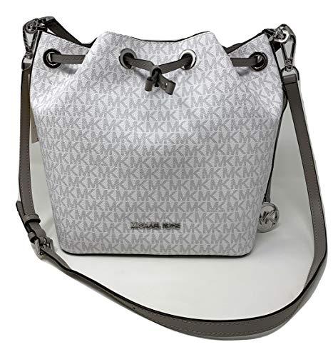 MICHAEL KORS EDEN MEDIUM BUCKET PVC LEATHER SHOULDER BAG MK BRIGHT WHITE/GREY