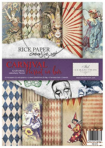 ITD Collection - Reispapier Kreativset A4 Decoupage Rice Paper Sheet 29,7 x 21 cm Mehrfarben (Carnival Pierrot in Love)