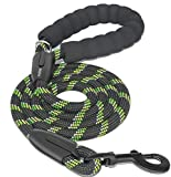 iYoShop 6 FT Strong Dog Leash with Comfortable Padded Handle and Highly Reflective Threads Dog Leashes for Small Medium and Large Dogs (6FT, Black)