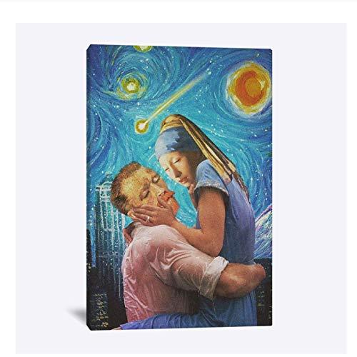 YXFAN van gogh noche estrellada chica con un pendiente de perla arte hogar niños sala de estar dormitorio decoración impresión cartel pintura pared arte lienzo-20x28 en sin marco